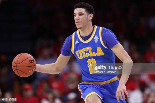 Lonzo Ball of the UCLA Bruins moves the ball upcourt during the second half of the college basketball game against the Arizona Wildcats at McKale...