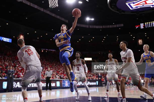 Lonzo Ball of the UCLA Bruins puts up a shot against the Arizona Wildcats during the second half of the college basketball game at McKale Center on...