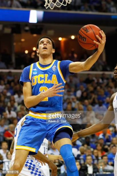 Lonzo Ball of the UCLA Bruins shoots against Kentucky Wildcats in the second half during the 2017 NCAA Men's Basketball Tournament South Regional at...