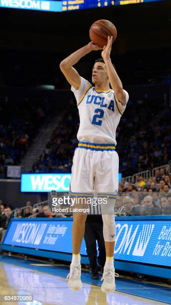Lonzo Ball of the UCLA Bruins shoots against the Oregon State Beavers at Pauley Pavilion on February 12 2017 in Los Angeles California