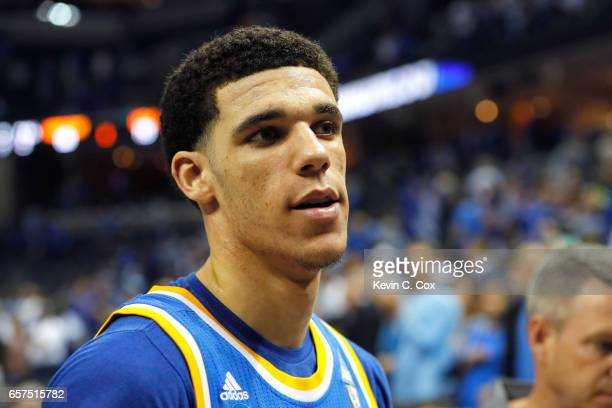 Lonzo Ball of the UCLA Bruins walks off the court after being defeated by the Kentucky Wildcats during the 2017 NCAA Men's Basketball Tournament...
