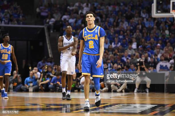 Lonzo Ball of UCLA shows emotion during a game against the University of Kentucky during the 2017 NCAA Men's Basketball Tournament at FedExForum on...