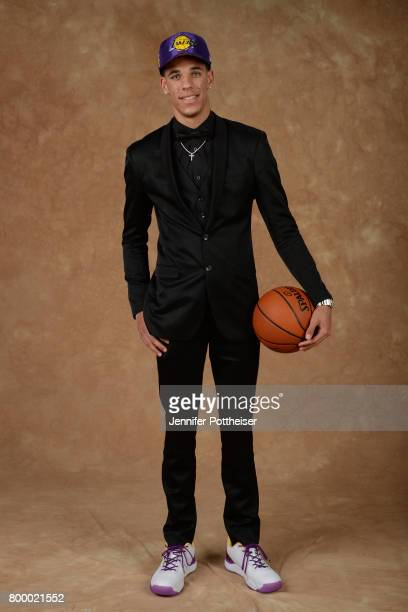 Lonzo Ball poses for a portrait after being drafted number two overall to the Los Angeles Lakers during the 2017 NBA Draft on June 22 2017 at...