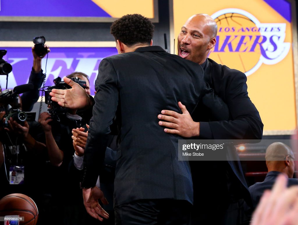 Lonzo Ball reacts with his father LaVar Ball after being drafted second overall by the Los Angeles Lakers during the first round of the 2017 NBA Draft at Barclays Center on June 22, 2017 in New York City.