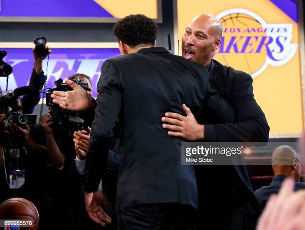 Lonzo Ball reacts with his father LaVar Ball after being drafted second overall by the Los Angeles Lakers during the first round of the 2017 NBA...