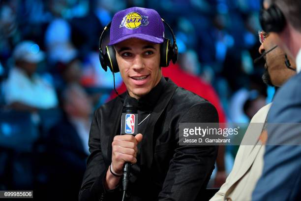 Lonzo Ball talks to the media after being the second overall pick by the Los Angeles Lakers in the 2017 NBA Draft on June 22 2017 at Barclays Center...