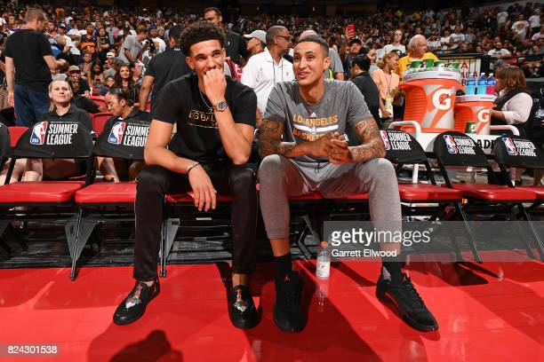 Lonzo Ball talks with Kyle Kuzma of the Los Angeles Lakers before the game against the Sacramento Kings on July 10 2017 at the Thomas Mack Center in...