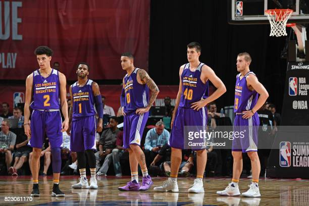 Lonzo Ball Vander Blue Kyle Kuzma Ivica Zubac and Matt Thomas of the Los Angeles Lakers looks on during the game against the Brooklyn Nets during the...