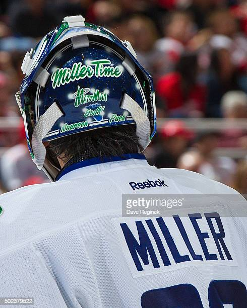 A look at the back of Ryan Miller of the Vancouver Canucks goalie mask during an NHL game against the Detroit Red Wings at Joe Louis Arena on...