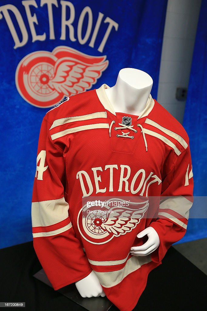 A look at the Detroit Red Wings 2014 NHL Winter Classic jersey displayed at the Press Announcement on April 7, 2013 at Joe Louis Arena in Detroit, Michigan.