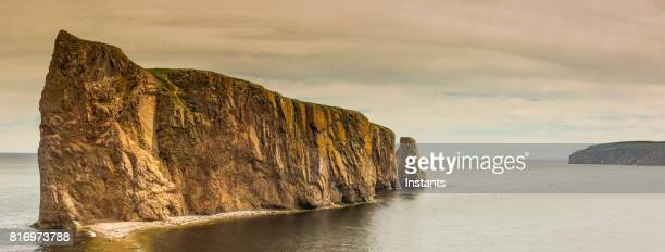 A look at the famous Rocher Percé (Perce Rock) and Bonaventure Island in the background, part of the Gaspé peninsula in the Canadian province of Quebec.