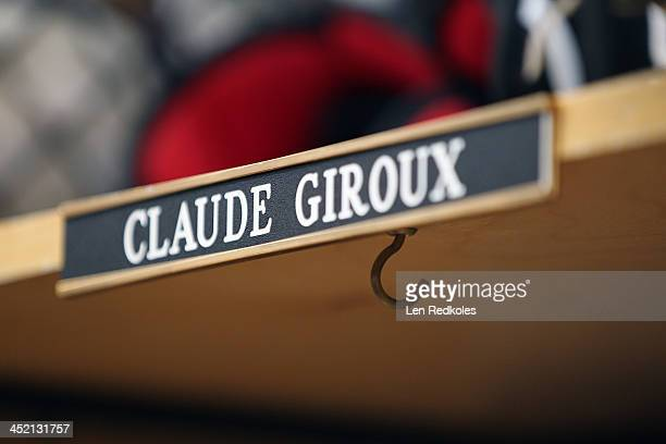 A look at the name plate on the locker of Claude Giroux of the Philadelphia Flyers following a game against the Ottawa Senators on November 19 2013...