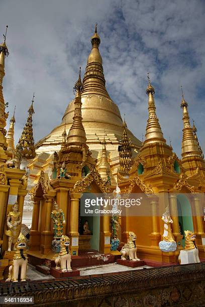 Look at the Shwedagon Pagoda the most important religious building of Myanmar on June 16 2016 in Yangon Myanmar