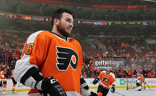 A look at Zac Rinaldo of the Philadelphia Flyers during warmups against the New York Rangers in Game Four of the First Round of the 2014 Stanley Cup...