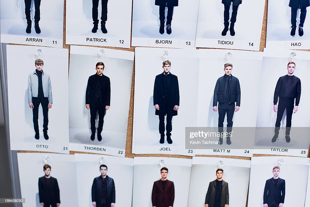 A look board is hung backstage at the Calvin Klein Collection show as part of Milan Fashion Week Menswear Autumn/Winter 2013 on January 13, 2012 in Milan, Italy.