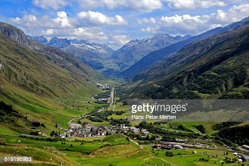 look from Furka Pass to Realp, Switzerland