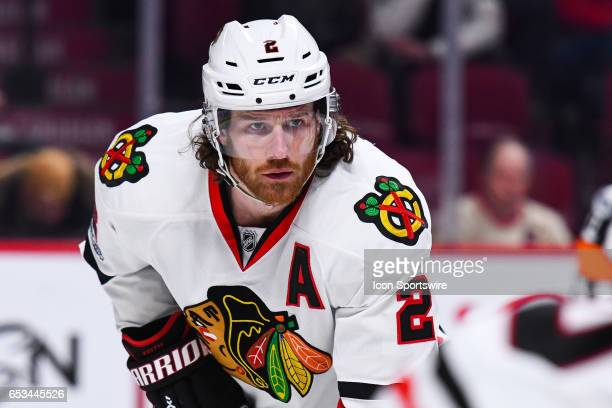 Look on Chicago Blackhawks Defenceman Duncan Keith at faceoff during the Chicago Blackhawks versus the Montreal Canadiens game on March 14 at Bell...