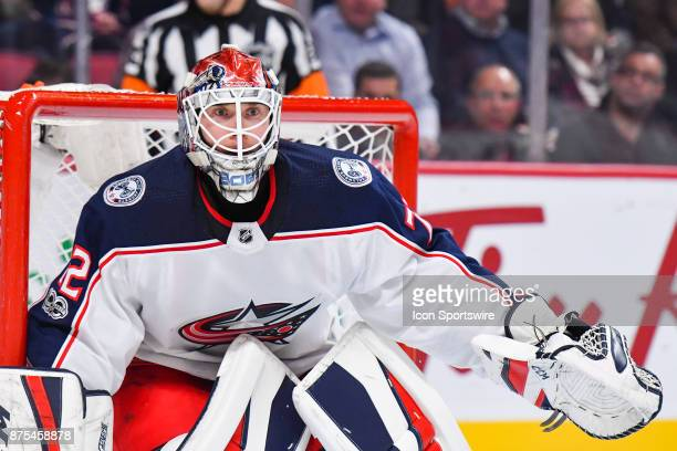 Look on Columbus Blue Jackets goalie Sergei Bobrovsky during the Columbus Blue Jackets versus the Montreal Canadiens game on November 14 at Bell...