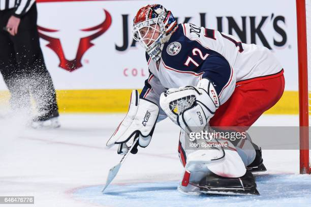 Look on Columbus Blue Jackets Goalie Sergei Bobrovsky in action looking during the Columbus Blue Jackets versus the Montreal Canadiens game on...