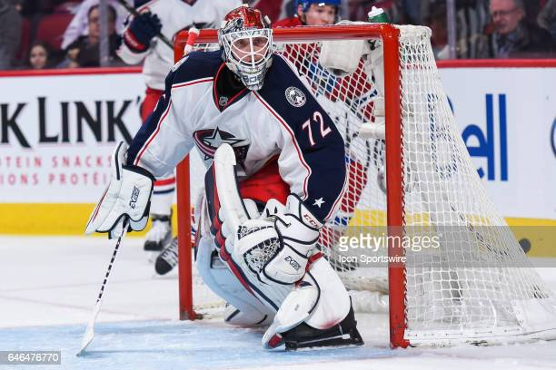 Look on Columbus Blue Jackets Goalie Sergei Bobrovsky looking t the play during the Columbus Blue Jackets versus the Montreal Canadiens game on...