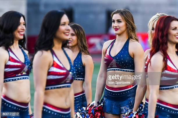 Look on Montreal Alouettes cheerleaders during the Saskatchewan Roughriders versus the Montreal Alouettes game on June 22 at Percival Molson Memorial...