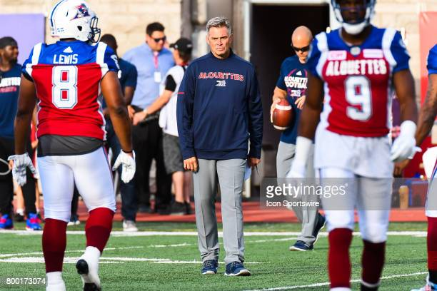 Look on Montreal Alouettes head coach Jacques Chapdelaine standing on the field before the Saskatchewan Roughriders versus the Montreal Alouettes...