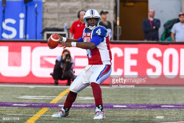 Look on Montreal Alouettes quarterback Darian Durant before passing the ball during the Saskatchewan Roughriders versus the Montreal Alouettes game...