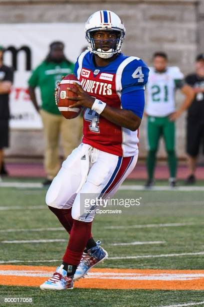 Look on Montreal Alouettes quarterback Darian Durant holding on the ball before passing during the Saskatchewan Roughriders versus the Montreal...