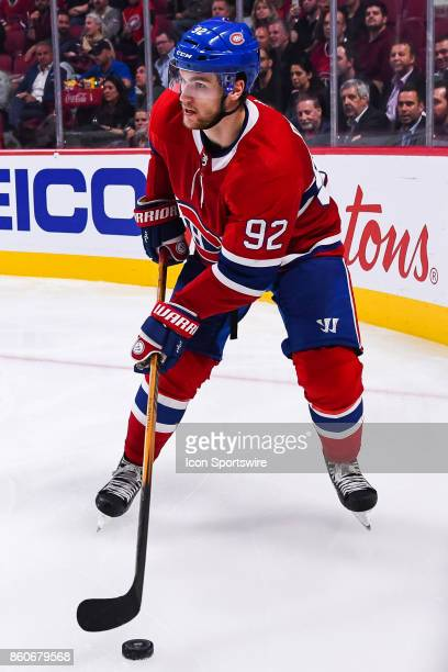 Look on Montreal Canadiens Center Jonathan Drouin during the Chicago Blackhawks versus the Montreal Canadiens game on October 10 at Bell Centre in...