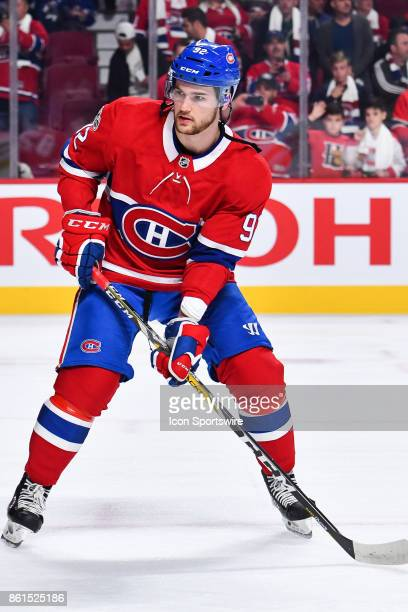 Look on Montreal Canadiens Center Jonathan Drouin during the Toronto Maple Leafs versus the Montreal Canadiens game on October 14 at Bell Centre in...