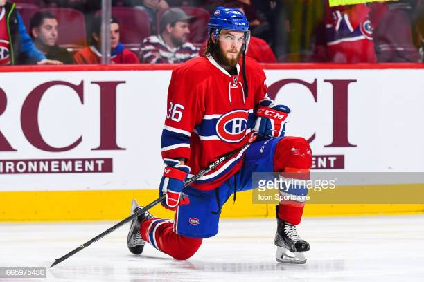 Look on Montreal Canadiens Defenceman Brett Lernout stretching at warmup before the Tampa Bay Lightning versus the Montreal Canadiens game on April 7...
