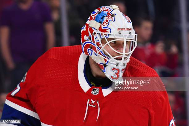 Look on Montreal Canadiens Goalie Antti Niemi at warm up before the Calgary Flames versus the Montreal Canadiens game on December 7 at Bell Centre in...