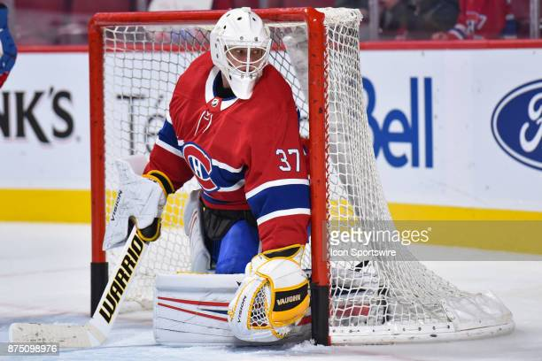 Look on Montreal Canadiens Goalie Antti Niemi in his new uniform at warm up before the Arizona Coyotes versus the Montreal Canadiens game on November...
