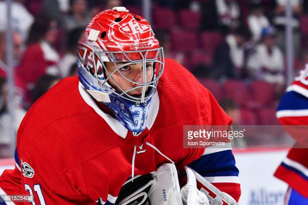 Look on Montreal Canadiens Goalie Carey Price during the Toronto Maple Leafs versus the Montreal Canadiens game on October 14 at Bell Centre in...