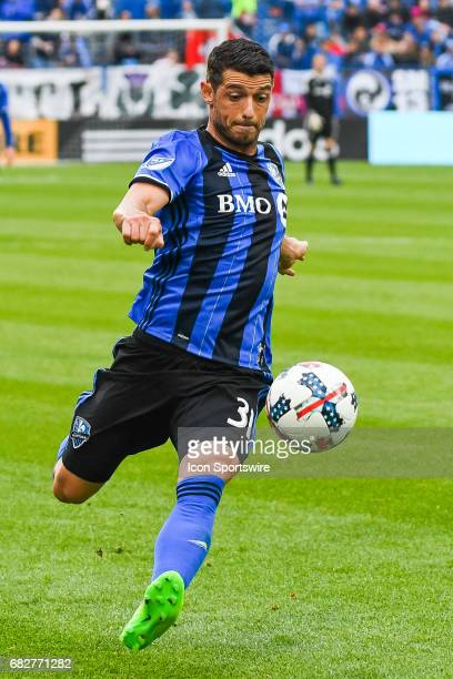 Look on Montreal Impact midfielder Belrim Dzemaili about to kick the ball during the Columbus Crew FC versus the Montreal Impact game on May 13 at...