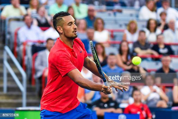 Look on Nick Kyrgios during his third round match at ATP Coupe Rogers on August 10 at Uniprix Stadium in Montreal QC