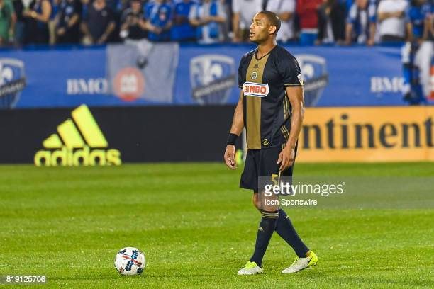Look on Philadelphia Union defender Oguchi Onyewu during the Philadelphia Union versus the Montreal Impact game on July 19 at Stade Saputo in...