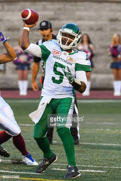 Look on Saskatchewan Roughriders quarterback Kevin Glenn about to pass the ball during the Saskatchewan Roughriders versus the Montreal Alouettes...