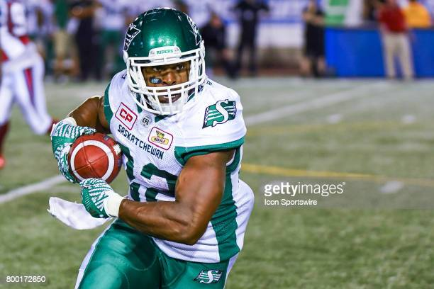 Look on Saskatchewan Roughriders running back Cameron Marshall in possession of the ball during the Saskatchewan Roughriders versus the Montreal...