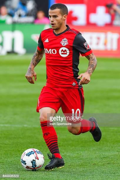 Look on Toronto FC forward Sebastian Giovinco running on the field controlling the ball during the Toronto FC versus the Montreal Impact game on...