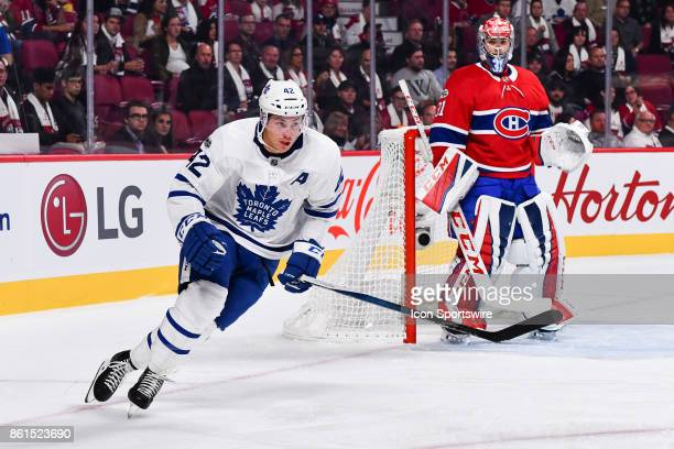 Look on Toronto Maple Leafs Center Tyler Bozak during the Toronto Maple Leafs versus the Montreal Canadiens game on October 14 at Bell Centre in...
