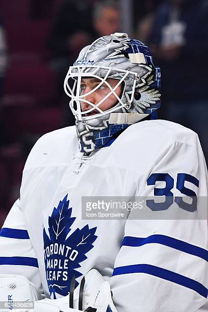 Look on Toronto Maple Leafs Goalie Jhonas Enroth at warmup before the Toronto Maple Leafs versus the Montreal Canadiens game on November 19 at Bell...