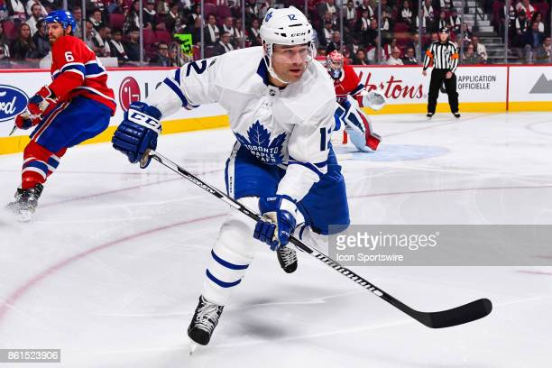 Look on Toronto Maple Leafs Left Wing Patrick Marleau during the Toronto Maple Leafs versus the Montreal Canadiens game on October 14 at Bell Centre...