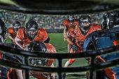 Look through helmet of American football player