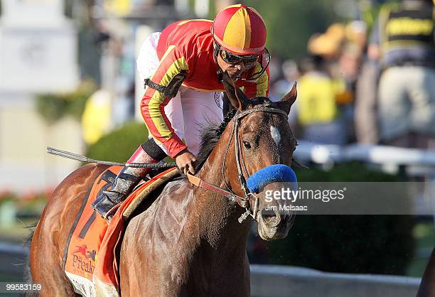 Lookin At Lucky ridden by Martin Garcia after winning the 135th running of the Preakness Stakes at Pimlico Race Course on May 15 2010 in Baltimore...