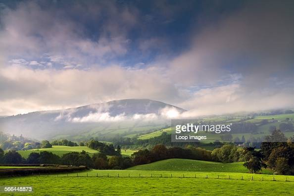 Looking across a misty landscape in the Brecon Beacons