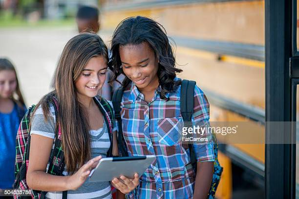 Looking at a Tablet Together Before School
