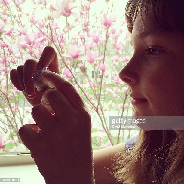Looking at amethyst specimen