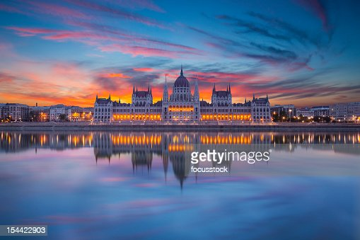 Looking at Hungarian parliament from across water at night