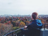 Looking at the city of Boston in the fall